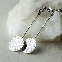 Textured  Silver Long Dangle Disc Earrings