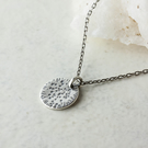 Textured Silver Disc Pendant with Chain