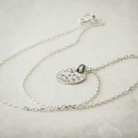 Silver Textured Disc Pendant with Chain