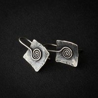 Square Textured Silver Earrings with Spiral Feature