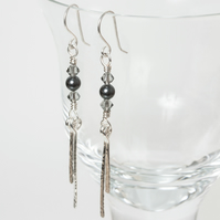 Long silver dangle earrings with hammered paddles & Swarovski crystals & pearls