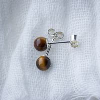 Gemstone Stud Earrings - 4mm Tiger's Eye on Sterling Silver SOLD