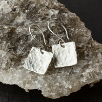 Hammered Silver Square Dangle Earrings