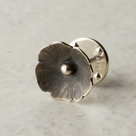Silver Blossom Flower Lapel Pin or Brooch