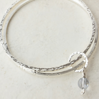 Textured Silver Double Bangle Set with Small Ring & Swarovski Globe Charm