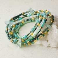 Stretch Stacking Bracelet or Necklace with Aquamarine, Green & Golden Beads