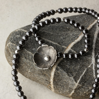 Hematite & Silver Bead Choker Necklace with Silver Blossom Flower Pendant