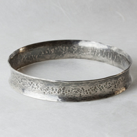 Anticlastic Hammer-Textured Bangle in Oxidised Silver