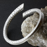 Silver Anticlastic Open Bangle with Etched Reptile Skin Pattern