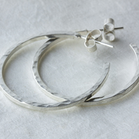 Hammered Silver Three-Quarter Hoop Stud Earrings