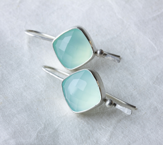 Sterling Silver Drop Earrings with Aqua Chalcedony Chequer Cut Cabochons SOLD