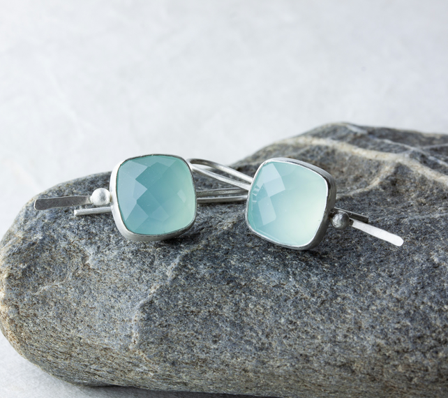 Sterling Silver Drop Earrings with Square Aqua Chalcedony Chequer Cut Cabochons