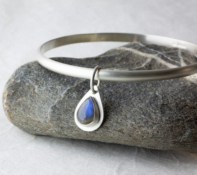 Sterling Silver Bangle with Labradorite Gemstone Teardrop Dangle SOLD