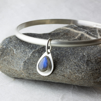 Sterling Silver Bangle with Labradorite Gemstone Teardrop Dangle