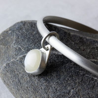 Sterling Silver Bangle with White Moonstone Dangle Charm