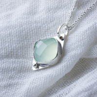 Sterling Silver Lozenge Shaped Pendant with Aqua Chalcedony Cabochon