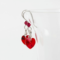 Silver Dangle Earrings with Red Swarovski Hearts & Crystals