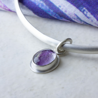 Sterling Silver Bangle with Fluorite Gemstone Oval Dangle