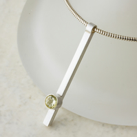 Minimalist Sterling Silver Bar Pendant set with a Lemon Quartz Gemstone