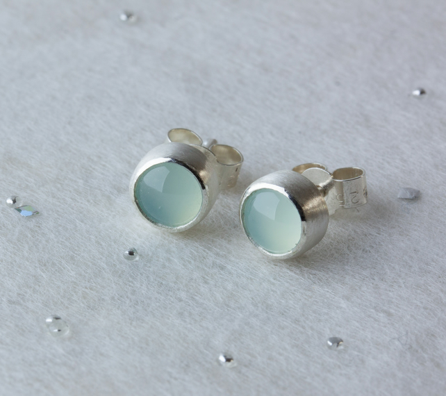 Sterling-Silver & Aqua Chalcedony Round Stud Earrings