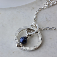 Hammered Silver Hoop Pendant with Blue Swarovski Pearl Charm SOLD
