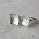 Textured Silver Concave Square Stud Earrings