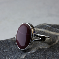 Sterling-silver split-shank mookaite ring