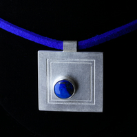 Sterling Silver Square Etched Pendant with Lapis Lazuli Cabochon