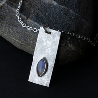 Textured Sterling Silver Rectangular Pendant with Marquise Labradorite Cabochon