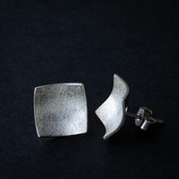 Textured Sterling Silver Concave Square Stud Earrings