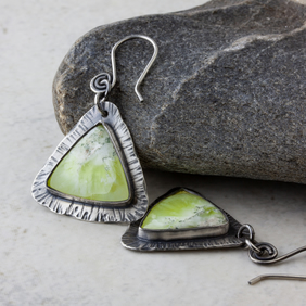 Oxidised Sterling Silver and Yellow Prehnite Triangular Dangle Earrings