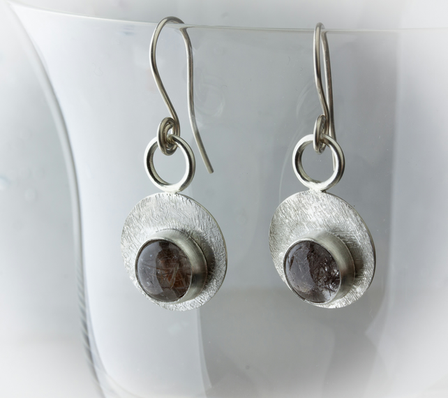 Textured Sterling Silver and Rutile Quartz Circular Dangle Earrings