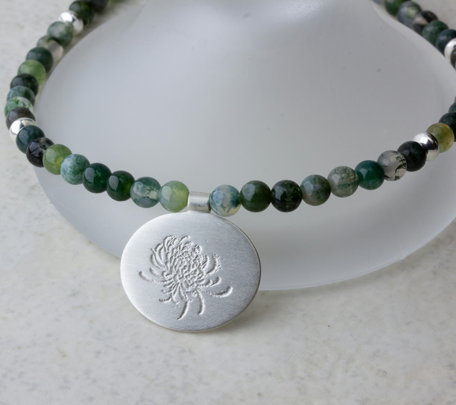 Moss Agate Bead Necklace with Etched Oval Sterling Silver Pendant