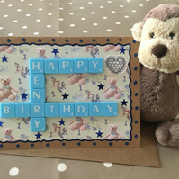 Personalised handmade Letterart baby cards