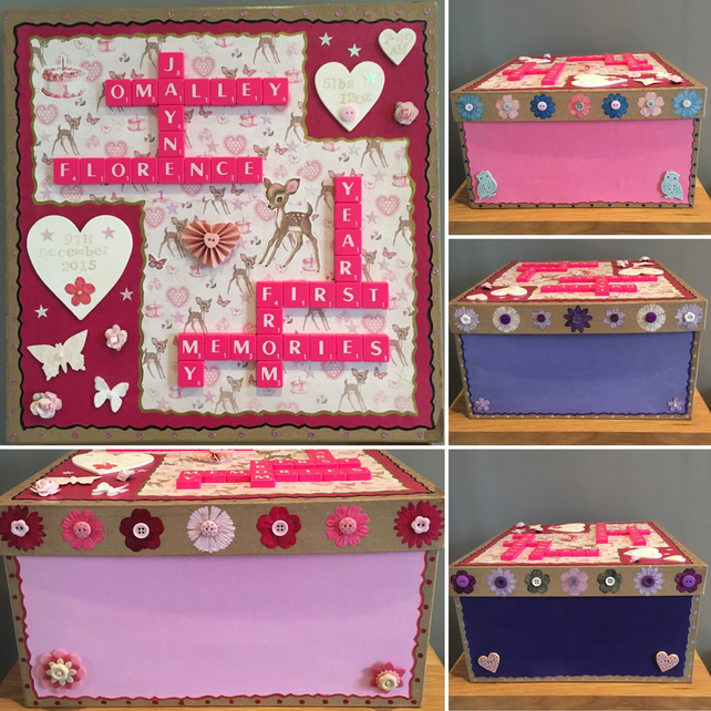 Personalised handmade Letterart mache memory boxes