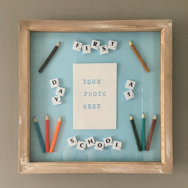 "Personalised Letterart handmade large (12"") Scrabble First Day School pictures"