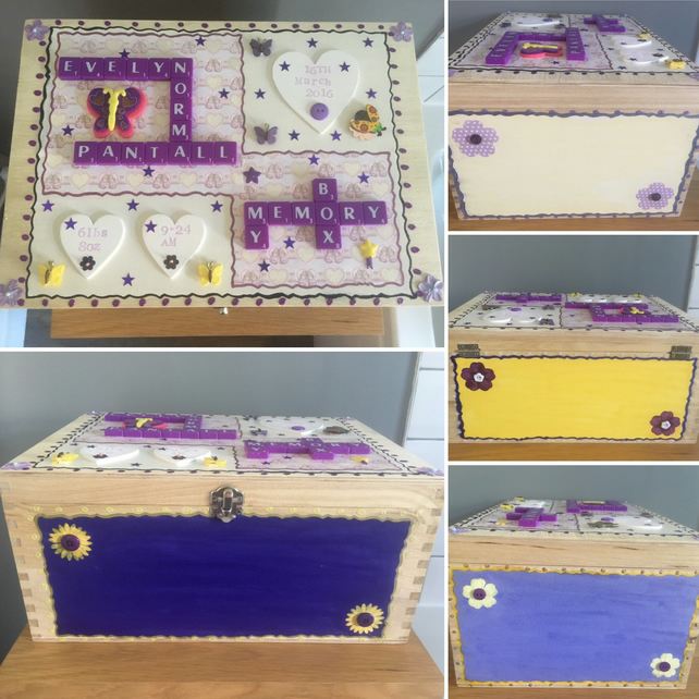 Personalised handmade Letterart wooden children's memory boxes