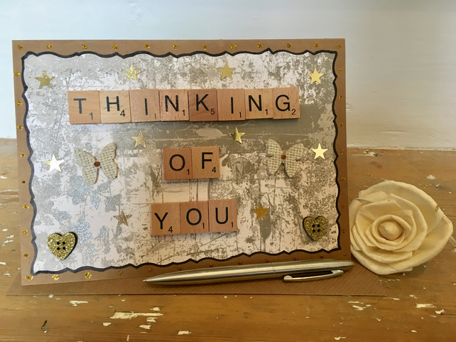 Personalised handmade Letterart thinking of you cards