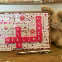 Personalised handmade Letterart new baby cards