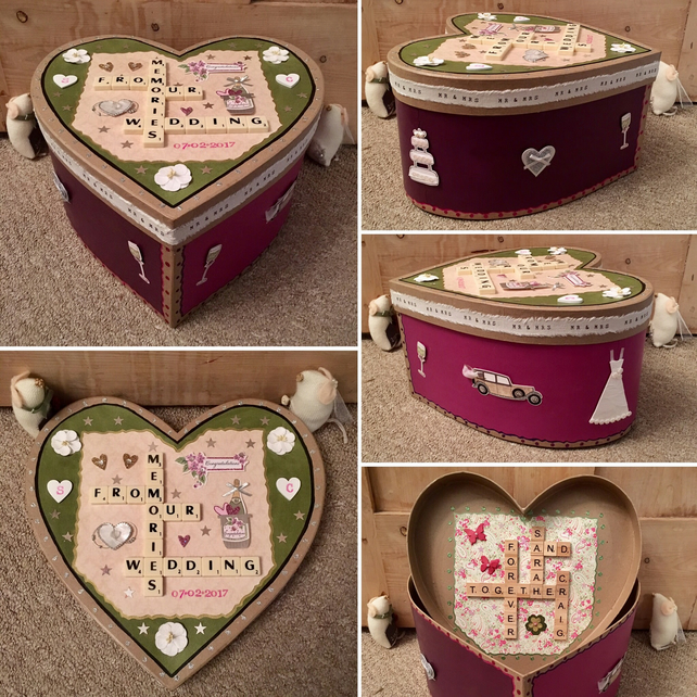 Personalised handmade Letterart mache heart memory boxes