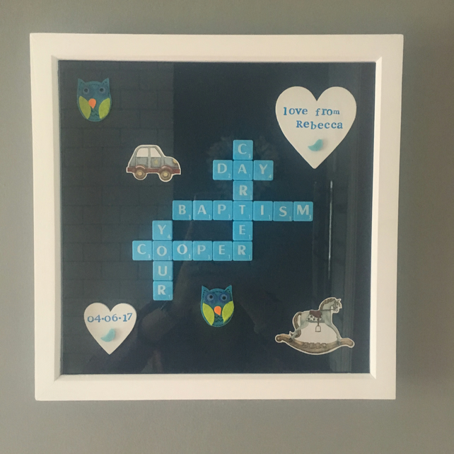 "Personalised Letterart handmade large 12"" christening pictures"