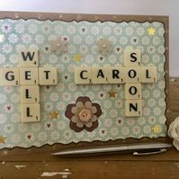 Personalised handmade Letterart get well soon cards