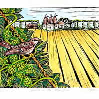 """Sparrow in the Hop Bine"" Linoprint"