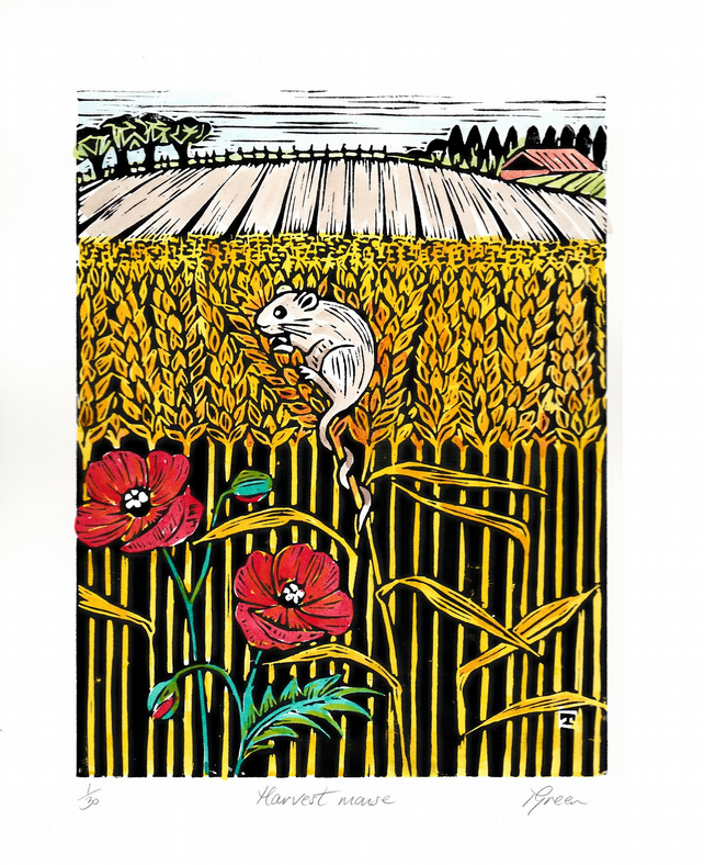 "Limited Edition Hand Coloured Lino Cut ""Harvest Mouse"""