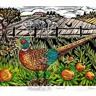 "Limited Edition Hand Coloured Lino Cut ""Pheasant in the Orchard"""