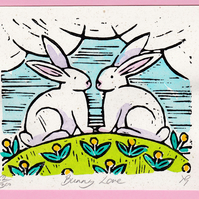 "Wedding, Anniversary, Easter Greetings Card ""Bunny Love"" Hand Coloured Linoprint"