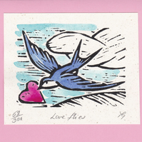 "Wedding, Anniversary, Greetings Card ""Love Flies"" Hand coloured Linoprint"