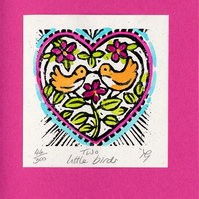 "Wedding, Anniversary, Greetings Card ""Two Little Birds"" Hand Coloured Linoprint"