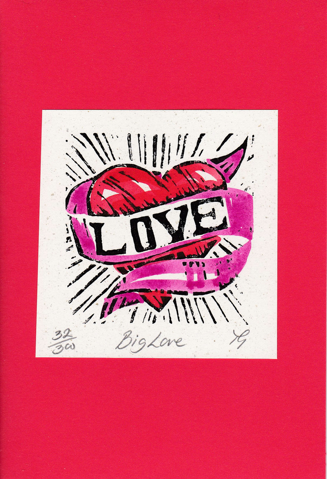 "Wedding, Anniversary, Greetings Card ""Big Love"" Hand Coloured Linoprint"