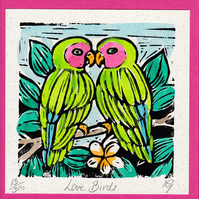 "Wedding, Anniversary Greetings Card, ""Love Birds"" Hand Coloured Linoprint"